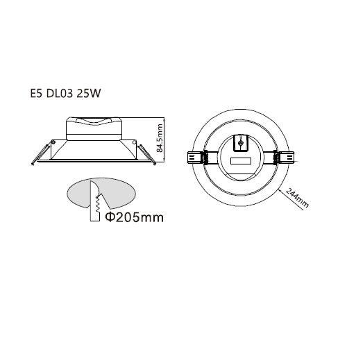 LED inbouwarmatuur aluminium inclusief lamp 25W 4000K